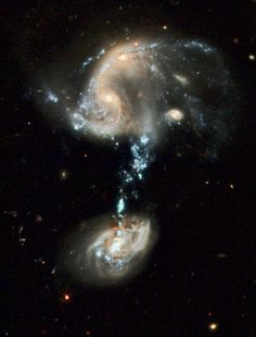 Arp194 | The northern (upper) component of Arp 194 appears as a haphazard collection of dusty spiral arms, bright blue star-forming regions, and at least two galaxy nuclei that appear to be connected and in the early stages of merging...