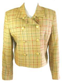HELENE SIDEL COUTURE Sz 12 Vintage Plaid Double Breasted Lined Blazer Jacket USA