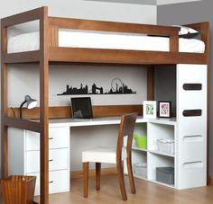 New Bedroom Desk Kids Loft Beds 15 Ideas Bedroom Desk, Bedroom Loft, Home Bedroom, Kids Bedroom, Bedrooms, Bed Design, Design Case, House Design, Small Rooms