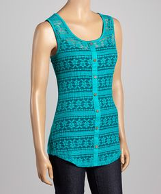 Look what I found on #zulily! Teal Lace Button-Up Tank by Zenana #zulilyfinds