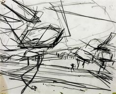 Frank Auerbach (born 1931) Title Working Drawing for 'Primrose Hill' Date 1968 Medium Drawing on paper Dimensions support: 251 x 305 mm Collection Tate