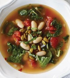 Triple Green Soup with Cannellini Beans & Spiced Pepitas