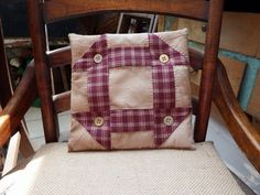 9 Inch Square Handstitched Primitive Flat Pillow, Hand Quilted Pillow, Country Rustic, Small Pillow, Prim Accent, Quilt Block, Homespun - pinned by pin4etsy.com