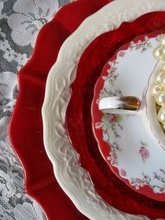 Mixed set of dishes in red and white
