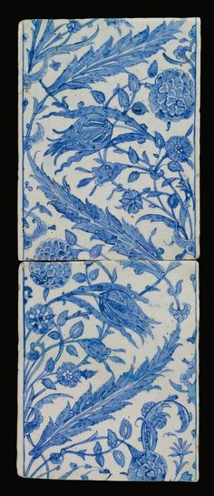 Tile painted in hatayi style with saz design. each of rectangular form, decorated in cobalt blue, with issuing sprays of saz leaves, tulips, carnations and rosettes Turkish Art, Turkish Tiles, Moroccan Tiles, Islamic Tiles, Islamic Art, Delft, Art Ancien, Chinoiserie, Blue And White China