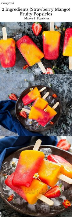 2 Ingredients Strawberry Mango Popsicle is part of Mango popsicles These 2 ingredients strawberry mango popsicles are fabulously refreshing and perfect for hot days Warm days ahead and we can't t - Peach Popsicles, Fruit Popsicles, Homemade Popsicles, Weight Watcher Desserts, Frozen Desserts, Frozen Treats, Healthy Snacks, Healthy Recipes, Popsicle Recipes