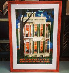 New Orleans Jazz & Heritage Festival print custom framed in Universal Arquati's Country Colors! #art #pictureframing #customframing #denver #colorado #neworleansjazzfest