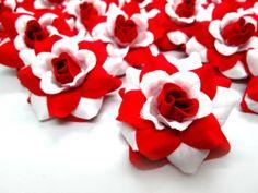 "(24) Silk Red White Roses Flower Head - 1.75"" - Artificial Flowers Heads Fabric Floral Supplies Wholesale Lot for Wedding Flowers Accessories Make Bridal Hair Clips Headbands Dress RoseFlorist,http://www.amazon.com/dp/B009JQXVXY/ref=cm_sw_r_pi_dp_DZzvtb1PVGW41RR3"