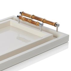 Riviere Lacquered trays in ivory with bamboo handles | Artedona.com