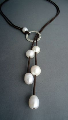 Cord and pearls hammered sterling silver lariat. Love it! Making this!