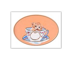 Kitten in a Teacup Digital CardKitten Art by CowberryMoonCards