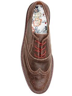 """I enjoy clothes with """"hidden"""" details for the wearer, like colorful lining for pants pockets, or the interior of these brogue wingtips from Original Penguin. It doesn't hurt that I'm also really into vintage floral patterns... Unfortunately, like most OP clothes, full MSRP is probably a bit high for the quality so look for a sale if they strike your fancy."""