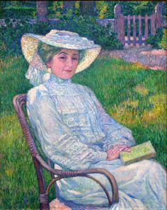 Lady in White - Portrait of Mrs. Théo van Rysselberghe     Théo (Théophile) van Rysselberghe (1862—1926) was a Belgian neo-impressionist painter, who played a pivotal role in the European art scene at the turn of the century.