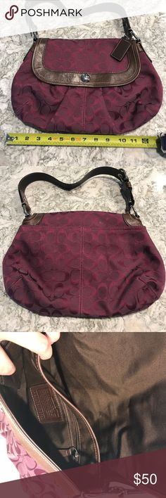 "Coach Handbag Burgundy cotton and brown leather. Excellent condition, a few minor scratches on leather. Magnetic closure. 9"" strap drop. Coach Bags Shoulder Bags"