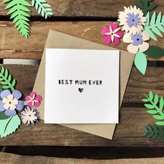 Mother's Day 'Best Mum Ever' handmade paper cut greetings card, approx x in size, with brown kraft envelope included. Paper Dimensions, Kraft Envelopes, Paper Cutting, Unique Gifts, Greeting Cards, Watercolor, Day, Handmade, Colour