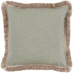 Talli Regency Fringe Sage Outdoor Pillow 20x20 (725 BRL) ❤ liked on Polyvore featuring home, outdoors, outdoor decor, outdoor patio decor, talli, outdoor accent pillows and outdoor garden decor