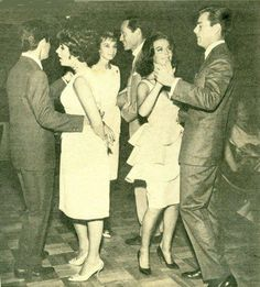 Three great friends: Elizabeth Taylor, Audrey Hepburn and Nathalie Wood with their respective husbands: Eddie Fisher, Mel Ferrer and Robert Wagner.