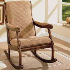 Cushioned Dark Oak Rocking Chair Wood Rocker Upholstered Room Arms Seat Nursery | eBay