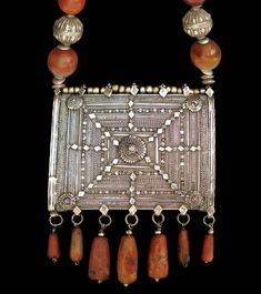 """indigenousdialogues: """" Silver Filigree Islamic Amulet Box with Agate & Silver Beads Yemen / Oman 19th century """""""