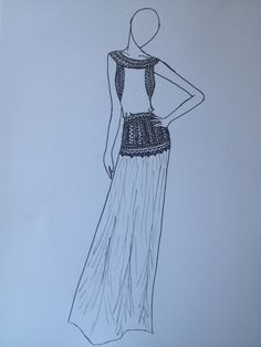 #drawing#long#dress#black#white#details#fashion