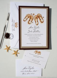 Painted Flip Flops Beach Wedding Invitations | My Personal Artist