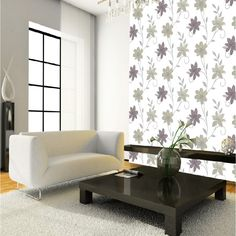 Luciana Flower Floral Leaf Motif Patterned Neutral Metallic Wallpaper