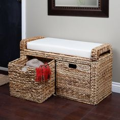 Banana Leaf Wicker Storage Bench at Hayneedle