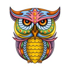 Check out this awesome 'Colorful+Owl' design on Owl Art, Bird Art, Owl Stencil, Colorful Owl Tattoo, Owl Illustration, Quilled Paper Art, Owl Tattoo Design, Owl Cartoon, Owl Pictures