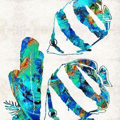 #tropicalfish #angelfish Blue Angels Fish Art by Sharon Cummings