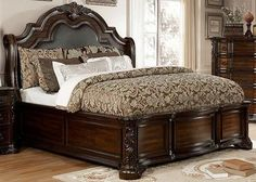 Create a luxuriously ambience with this stunning bedroom ensemble. Intricate carvings trim the entire set, embellishing every aspect with elegant floral designs. A leatherette headboard brings some warmth and texture to the collection. Bedroom Furniture Design, Furniture, Bedroom Panel, Bed, Headboard Styles, Home Furniture, Furniture Of America, Home Decor, Affordable Furniture
