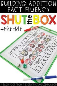 Shut The Box- Build Math Fact Fluency Freebie! This is our ALL TIME FAVORITE math game! This activity is perfect for first and grade students to help practice addition, and build fluency with math facts. There are so many ways to Math Stations, Math Centers, Learn Math Online, Math Fact Fluency, Fluency Games, Dice Games, Build Math, Math Night, Second Grade Math
