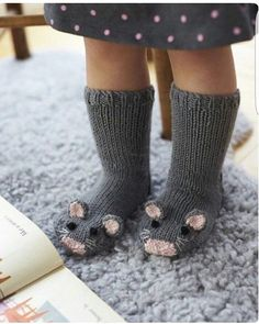 Free Knitting Pattern for Mouse Socks – These adorable mice socks are excerpted from Fiona Goble's Knitted Animal Scarves, Mitts, and Socks. , Free Knitting Pattern for Mouse Socks – These adorable mice socks are excerpted … , DIY's &… Continue Reading → Baby Knitting Patterns, Knitting For Kids, Free Knitting, Knitting Projects, Knitting Socks, Crochet Projects, Crochet Patterns, Knit Socks, Crochet Baby