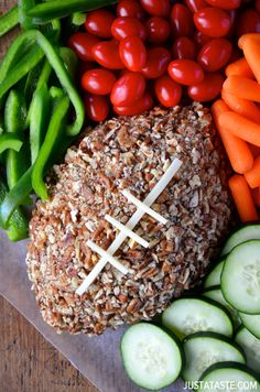 Easy Football Cheese Ball via Just a Taste #appetizer #gameday #superbowl
