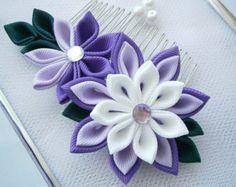 Hecho a mano Kanzashi tela flor pelo peine fascinator-comprar
