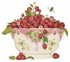 mary lake thompson designs~Raspberry Bowl ... surprisingly similar to Susan Branch's work.