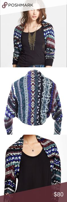 """Free People Carnival Winter Shrug S NWT and in excellent condition. This is the perfect shrug for winter!! Open front with long sleeves and lace lining. Approx 18"""" length. Shell is acrylic/mohair/wool mix. Longing nylon/spandex mix. Free People Sweaters Shrugs & Ponchos"""