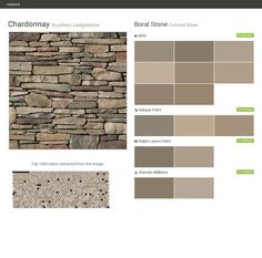 Chardonnay. Southern Ledgestone. Cultured Stone. Boral Stone. Behr. Valspar Paint. Ralph Lauren Paint. Sherwin Williams.  Click the gray Visit button to see the matching paint names.