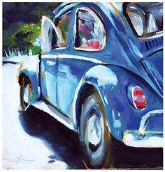 """""""61 Beetle"""" Oil on panel 7"""" x 7"""" by Darren Love... sometimes I'm sorry I sold my first car..."""