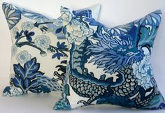 Pair of Schumacher Chiang Mai Dragon PIllow Covers in China Blue on Etsy, $180.00