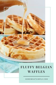 Homemade Belgian waffles are perfectly golden and crispy on the outside but the insides are soft, fluffy and amazingly delicious! Made from scratch using a few simple ingredients, this waffle recipe is the best you'll find. Easy Belgian Waffle Recipe, Belgian Waffle Mix, Waffle Mix Recipes, Best Waffle Recipe, Pancake Recipes, Breakfast Recipes, Breakfast Pastries, Pancake, Cookies