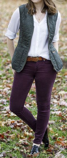 Barbour vest, Express portofino, burgundy corduroy pants outfit. Shiny black oxford shoes.