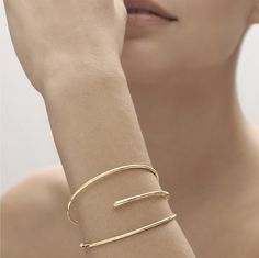 Bracelet in yellow gold with diamond - Geometric Code collection