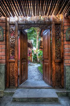 """Welcome to the Chilhouse""(Bali)*-*. Love the wood carvings made in Bali The Doors, Windows And Doors, Bali Fashion, Unique Doors, Entrance Gates, Garden Entrance, Garden Doors, Door Knockers, Doorway"