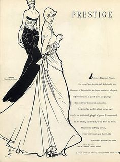 René Gruau 1948 Carven & Jean Patou Fahion Illustration Evening Gown