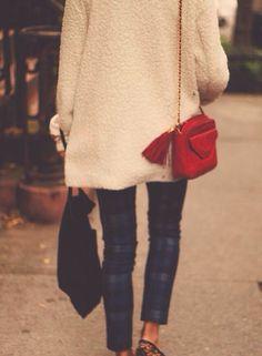 tartan skinnies, oversized sweater, red bag