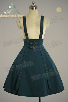 Punk Gothic High Waist 2way Skirt&Suspenders*Instant Shipping