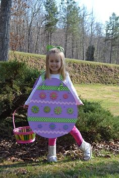 Easy easter egg costume is colored cardboard embelished with glitter foam stickers, large ric rac and ribbon. Two holes punched to run ribbon through and knotted on the ends secures the two pieces together.