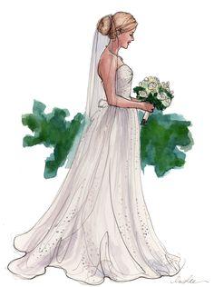 Illustration by Inslee Haynes. Wedding Illustration, Fashion Illustration Sketches, Illustration Mode, Fashion Sketches, Wedding Dress Sketches, Wedding Dresses, Wedding Flowers, Vintage, Fashion Design
