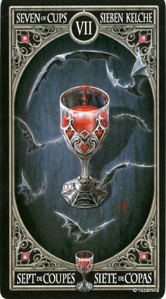 7 de coupes - Tarot gothique par Anne Stokes