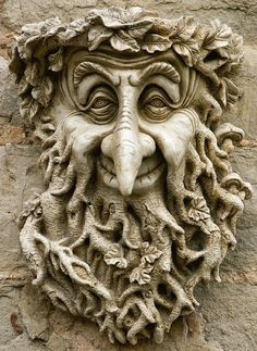 Garden Ornaments - Green Man Garden Ornaments Buy Stone Face Garden Ornament Small Bacchus We have a stunning collection of hand crafted Green Man wall decorations. Create a unique garden feature with one of our designs. Tree Carving, Wood Carving, Green Man, Keramik Design, Tree Faces, Garden Ornaments, Yard Art, Sculpture Art, Metal Sculptures